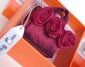 New Bags Collection - Dark Burgundy Silk Bag with Burgundy Flowers