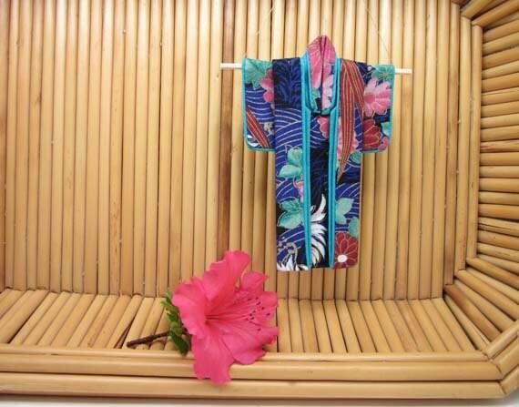 "5-inch ""Indigo Seas"" Kimono. Fabric Origami Kimono Ornament: Hang It or Frame It. Handmade, Teal Blue Aqua Turquoise Rose Waves Mums Flowers"