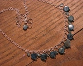 Handmade Dangling Kyanite and Apatite Sterling Silver Necklace