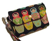 IPhone 4 / 4s / 5 / 5s / 5c Smart phone Wristlet Wallet - in Nesting Matryoshka dolls LIMITED