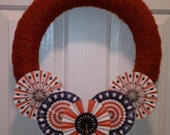 Patriotic Yarn Wrapped Wreath- Red, white, and blue pinwheels