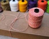 Pink lemonade: Waxed polyester cord in Baker's Twine look, 10 meters, pink lemonade, for macramé, Jewelry making, etc.