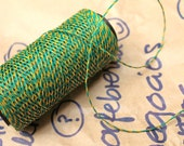Green and yellow: Waxed polyester cord in Baker's Twine look, 10 meters for macramé, Jewelry making, etc.