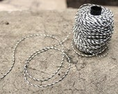 black and white: Waxed polyester cord in Baker's Twine look, 30 meters, for macramé, Jewelry making, etc.