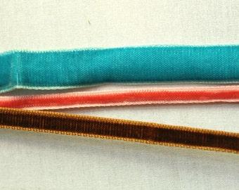 Vintage velvet ribbon combo /// aqua, mocha and baby rose /// 3 meters