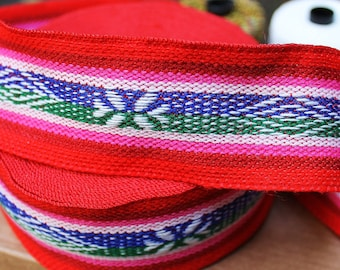 Aguayo two sided, band, ribbon, trim, 1 meter or more, for bags, headbands, pillows...