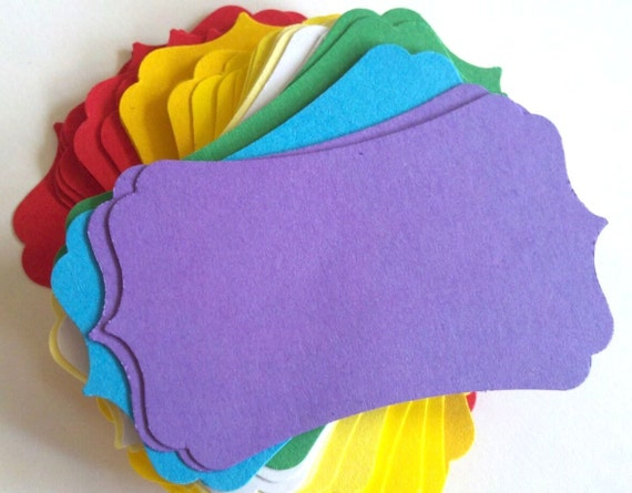 25 Bracket Shaped Gift Tags Wedding Favor or Seating Assignments Labels for a Candy Buffet - You Choose from 25 colors