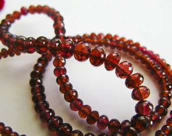 Garnet Rondelles, AAA Gems, Gemstone Beads Micro Faceted, 3-5mm, aaagems, Half Strand, 8 inches