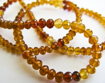 Hessonite Garnet Rondelles, AAA, Micro Faceted, 2-3mm, 8 inches