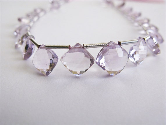 Pink Amethyst Puffed Diamond Cut, Micro Faceted, AAA, 8.5-10.5mm, Half Strand, 10 Beads