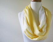 Lemon Scarf, Ombre White and Yellow, Contemporary, Lightweight, Summer Scarf, Spring, Butter Yellow
