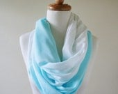 Aqua and White Ombre Scarf, Circle Scarf, Lightweight, Summer Scarf, Spring, Sky Blue, Robin Egg, Shaded Hand Dyed