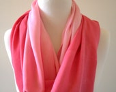 Strawberry Pink Infinity Scarf, Eternity Scarf, Shaded, Infinity Circle Scarf, Peony Pink Ombre, Wrap Scarf, Spring and Summer Fashion