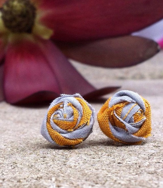 Rose Earring Posts in Mustard and Gray Combo