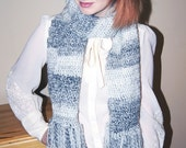 Long Grey Patterened Crochet Scarf