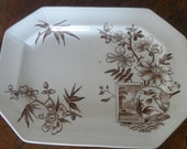 H. Alcock bird and fan brown transfer ware on ivory ironstone platter