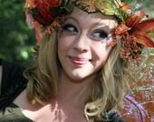 Fairy Flower Hair piece - Orange, Green, and Gold Faerie Head Garland