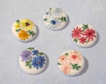 Vintage Style Floral Hand Embroidered Buttons