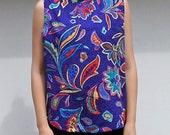 Vintage sleeveless floral blouse