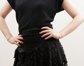 1980's Black dress with lace ruffles
