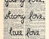 Young Love Dictionary Print -Upcycled Dictionary Print, Vintage Art, Upcycled Art - Wedding