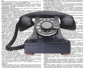 Vintage Phone Dictionary Print - Upcycled Dictionary Print, Vintage Art, Upcycled Art