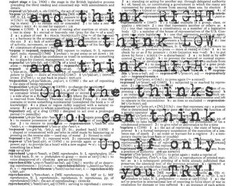 Oh The Thinks You Can Think - Dr. Seuss Dicitonary Print - Upcycled Dictionary Print, Vintage Art, Upcycled Art