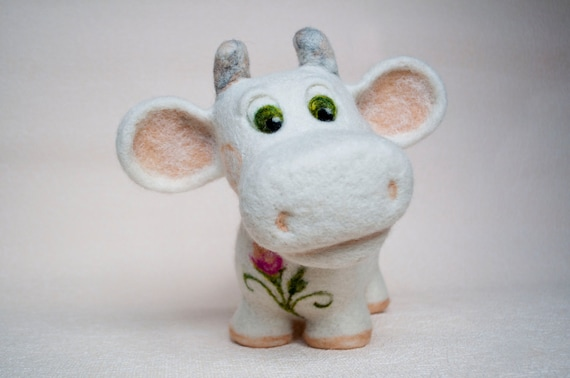 Needle felted cow, flower cow, white