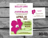 Hibiscus Destination Wedding Invitation and Response Card