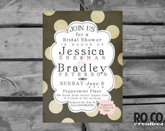 Chic Brown Vintage Polka Dot Bridal Shower Invitation