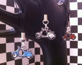 ONE Red, White OR Blue Colored Metal Scooter Charm - Phone Charm / Zipper Pull