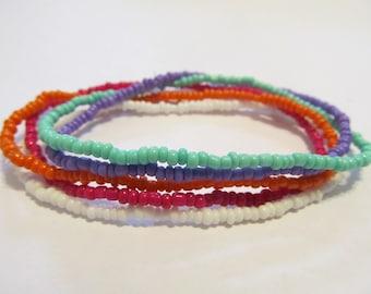Set of 5 seed bead stretch bracelets beaded stack bracelets handmade bracelet