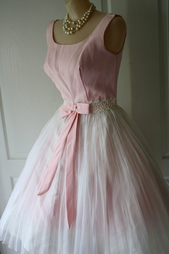 vintage 1950's 60's pretty in pink COCKTAIL PARTY mad men dress S