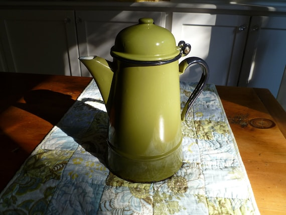 Rustic Vintage Coffee Pot or Tea Kettle // Olive Green and Black Enamelware