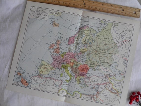 1926 Vintage Map of Europe - German Lithograph