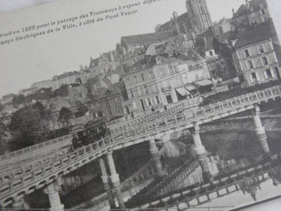 WWI Soldier Souvenir  - Paris Le Mans Electric Tram Car On Bridge Postcard
