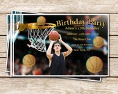 3D Birthday Party Invitation -The price includes customized design & 10 pairs of 3D glasses / Basketball theme
