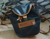 90s Black and Tan Leather Mini Backpack / Purse