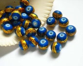20 Blue And Gold Art Glass Beads