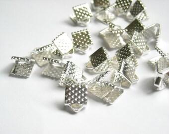 20 Silver Crimp Ribbon End Caps