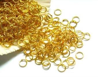 50/100/500 Gold Plated Jump Rings 4mm, Open Loop - 8-2