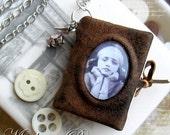 Leather miniature book & Romantic necklace