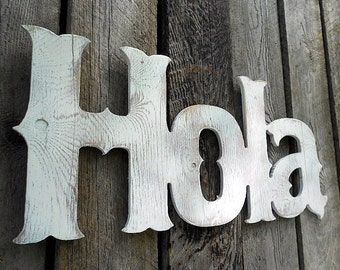 "Wooden ""HOLA"" Sign - Plywood"