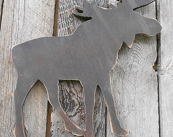 Large Cut-out MOOSE Wall Art  - Distressed Montana Alberta Alaska Gift