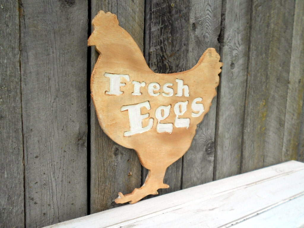 Cut Out Wooden Chicken Silhouette Fresh Eggs Large