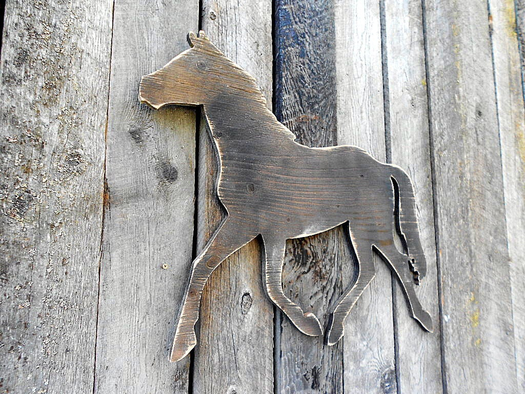 Large Distressed Wall Decor : Large cut out horse wall art distressed
