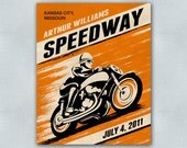 Custom Retro Motorcycle Racing Poster - 8x10 - Printable Digital File