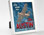 Custom Retro Airplane Poster - 8x10 - Printable Digital File