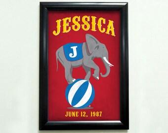 Custom Retro Circus Elephant Poster - 11x17 - Printable Digital File