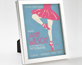 Custom Retro Ballet Poster - 8x10 - Printable Digital File